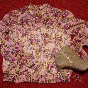Express Sheer Blousy Floral Ruffle Collar Blouse S
